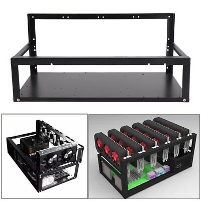 6 GPU's Black Steel Coin Open Air Mining Frame Rig Case up to BTC Ethereum ETH G