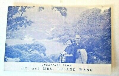 Vintage Greeting postcard Dr. Leland Wang photo Chinese Amer. Religious history