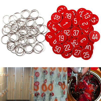 Set of 50pcs Red Laser Engraved Number Discs 1-50 with Keyrings Identify