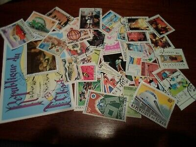 Collection lot 30 different stamps of Chad