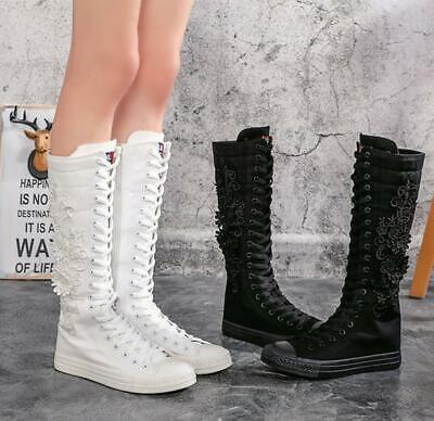 Womens Girls Flowers Canvas Knee High Sneakers Zip Boots Punk Goth Dance Shoes