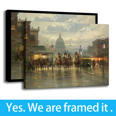 Western Cowboy Wall Art Decor City Avenue HD Print Canvas Painting Framed