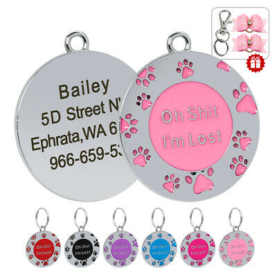 Paw Print Personalized Puppy Cat Dog ID Name Tags Free Hair Bows Stainless Steel