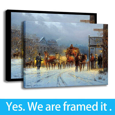 Western Cowboy HD Print on Canvas Wall Art Picture Decor Winter City Framed