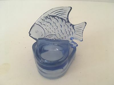 "Vintage Clear Blue Glass 3.5"" Fish Themed Single Candle Holder"
