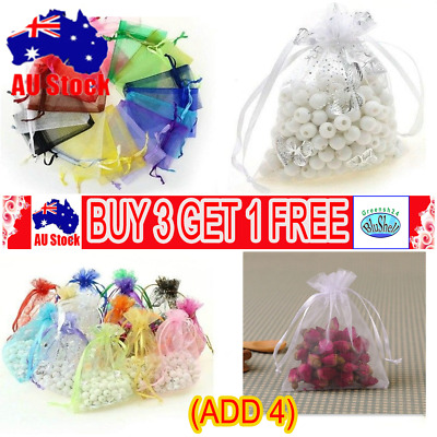 100Pcs Organza Gift Bags Wedding Party Favour Xmas Jewellery Candy Pouches GN