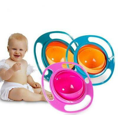 Baby Non Spill Gyro Feeding Toddler Bowl 360° Rotating Avoid Food Spilling Kids