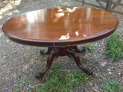 Victorian mahogany tilt top dining table
