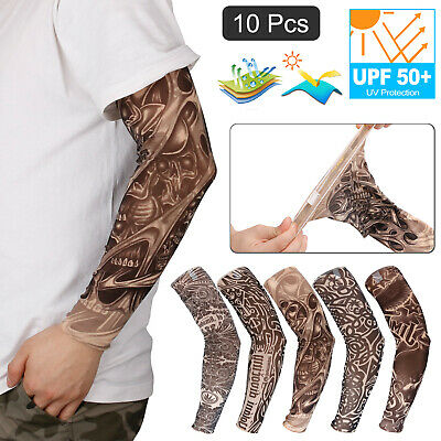 10 Pcs Tattoo Ice Cooling Arm Sleeves UV Protection Cover Basketball Sports Men