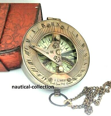 Antique Brass Sundial Compass Marine Unique Working with Leather case