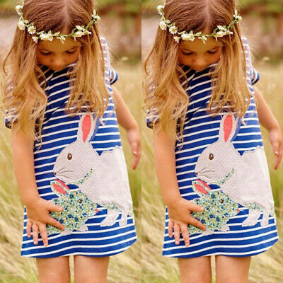 Toddler Kids Baby Girl Easter Cartoon Bunny Clothes Stripe Sundress Party Dress