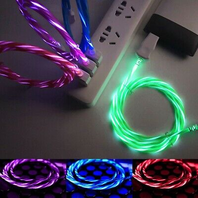 Tipo C Micro USB Flowing Glow RGB LED Cargador Datos Cable Cord Android Movil