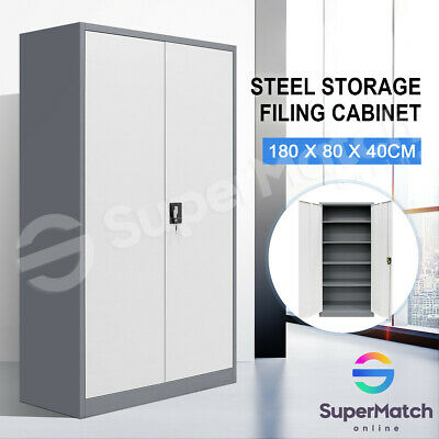 White & Grey Steel Stationary Cupboard Filing File Storage Cabinet Metal Locker