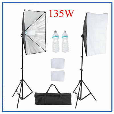 135W LED Continuous Lighting Softbox Photography Studio Soft Box Light Stand Kit