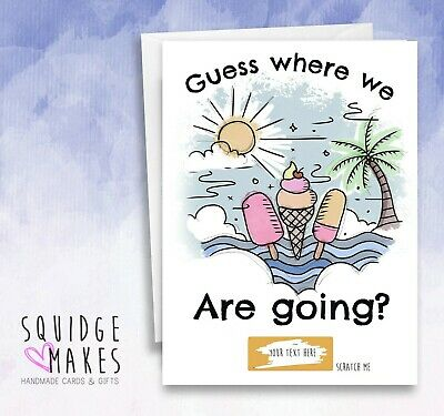 Surprise holiday Reveal* Personalised* Ibiza benidorm hen do scratch off card*