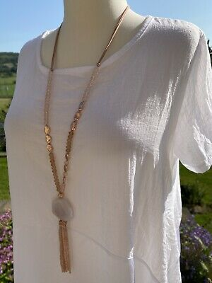 NEW Tassels Necklace Nude Faceted Crystals Ornate Beads Long Rose Gold Tone