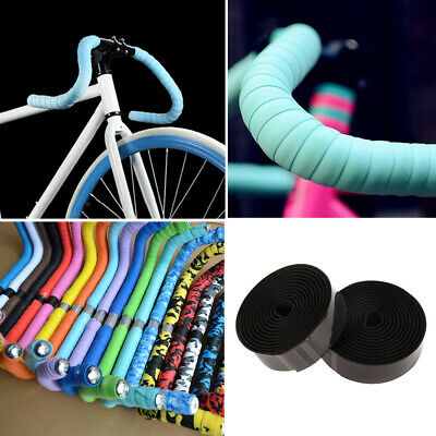 2PCS Cycling Road Bike Sports Cork Handlebar Tape+ 2 Bar Plug black Outdoor #N