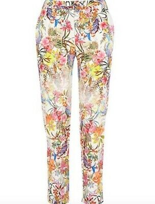 BNWT RIVER ISLAND off white floral print slim cigarette trousers size 10 R £40