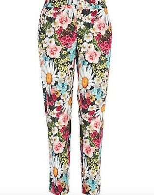 BNWT RIVER ISLAND bloom floral print slim cigarette trousers size 10 R £35