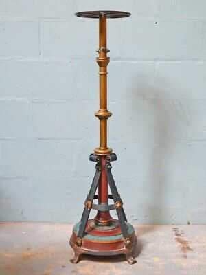 Antique Victorian church polychrome iron flower or conservatory plant stand