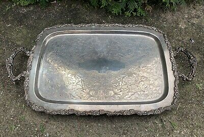 Antique Silver Plated Silverplated/Copper Serving Handled ONEIDA Tray Victorian