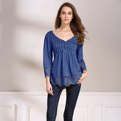 Women Summer Loose Tops V Neck Half Sleeve Casual Blouse Ladies Shirt T