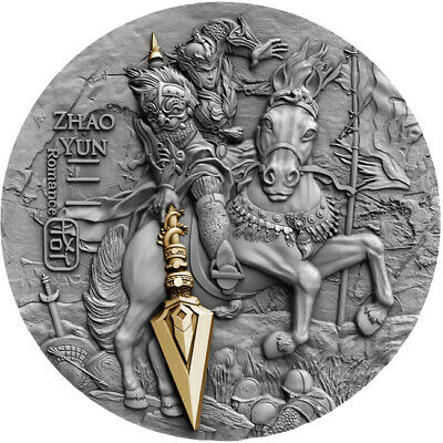 2019 $5 Zhao Yun - Ancient Chinese Warrior 2oz Silver Gold Plated Coin
