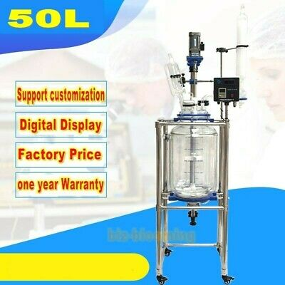 50L Double layer Lab Jacketed Glass Reactor Chemical Glass Reaction Kettle NEW