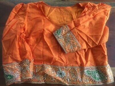 Vibrant Orange Sari size 10 (S) complete with headscarf and bangles