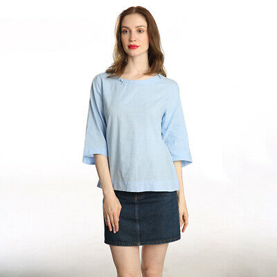 Vintage Womens Crew Neck Long Sleeve Cotton Irregular Tops Blouse Shirt T