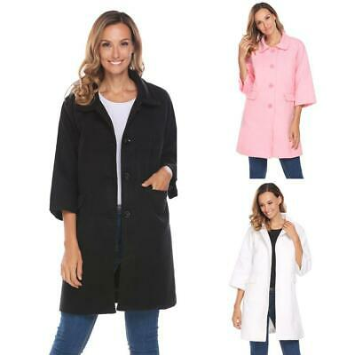 Women 3/4 Sleeve Single Breasted Wool Blend Long Button Up Coat WT88 01