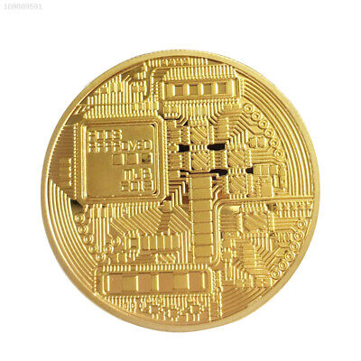 141D Gold Bitcoin Plated Coin Gift Collection BTC Collectible Coin Collection