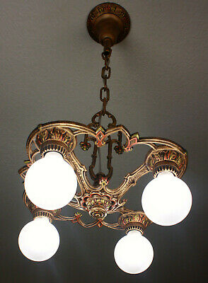 1920's Art Deco Antique  Vintage Ceiling Light Fixture Chandelier