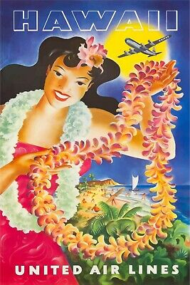 Hawaii United Airlines Travel Advert Retro style metal wall sign plaque, holiday