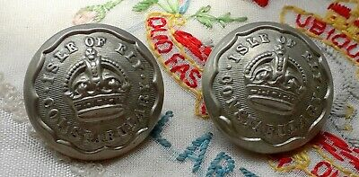 Vintage antique pair of isle of ely constabulary buttons 20mm