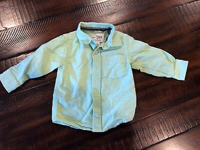 Children's Place Green Collared Button Up Shirt Size 9-12 Month