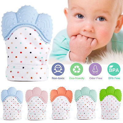 2X Baby Silicone Mitts Teething Mitten Teething Glove Candy Wrapper Soft Teether