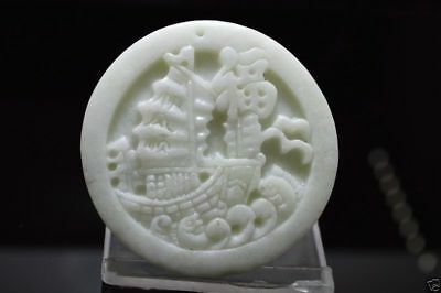 ANCIEN Jade amulet pendant Chinese art collection veiled boat * fish * dragon !