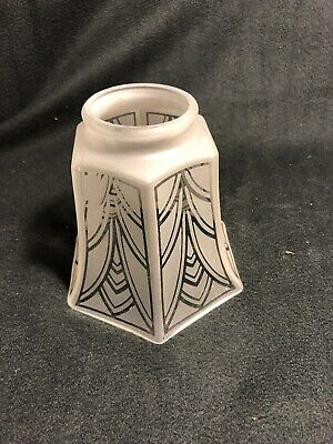 """Vtg Art Deco Frosted Etched Glass Shades Fan Chandelier Sconce Hexagon 2"""" Fitter"""