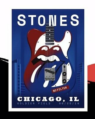 Rolling Stones Poster 6-25-19 Soldier Field Chicago Limited Of 500..