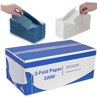 Soft Z Fold Tissue Interfold Paper Hand Towel BLue White 2 Ply Disposable