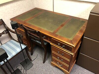 Vintage / Antique Twin Pedestal Writing Desk / Table With 4 Drawers