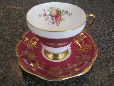 FOLEY CHINA TEACUP CUP SAUCER RED & WHITE w/ FLORAL FLOWERS GOLD FILIGREE LEAVES
