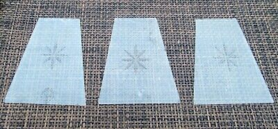 3 Panels Of Antique / Vintage Satin Glass With Etched Star For Lantern Lamp