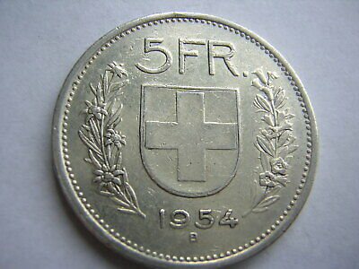 1954 5 Franc Swiss Silver Coin