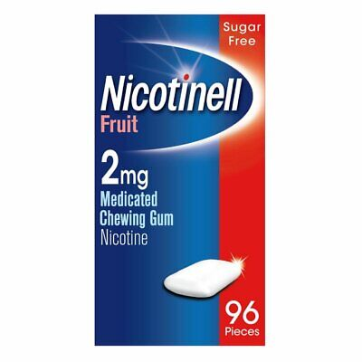 Nicotinell Fruit 2mg Quit Smoking Addiction Medicated Chewing Gum 96 Pieces Fast