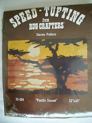 Vtg 70s Rug Crafters Starter Pattern Pacific Sunset Burlap Panel Deadstock New