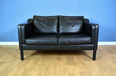 Mid Century Retro Danish Black Leather Mogensen Style 2 Seat Sofa Settee 1970s