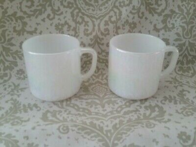 Vintage Federal Rainbow Iridescent Opalescent Milk Glass Coffee Mug/Cup set of 2