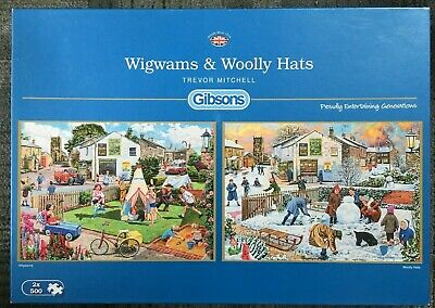 Gibsons 2 x 500 piece Jigsaw Puzzles - Wigwams & Woolly Hats